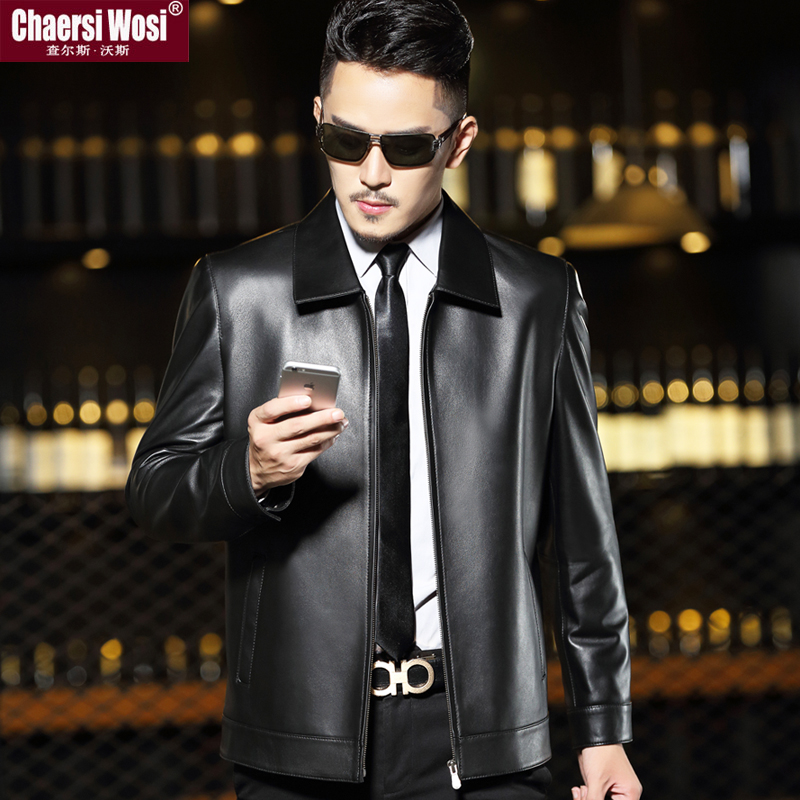 Haining leather jacket men's middle aged and elderly plush short Lapel thin large sheep leather jacket men's coat