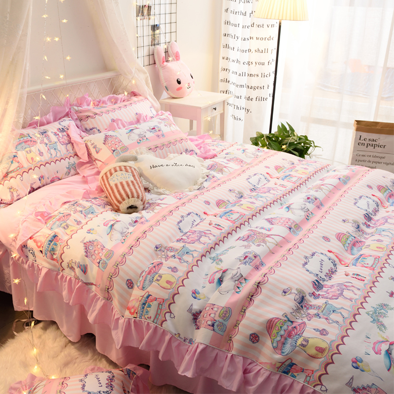 ins风马戏团床裙四件套日系床罩