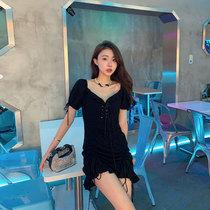 张大人大码女装2021新款甜美胖妹妹mm穿搭裙子遮腹黑色连衣裙夏季