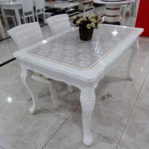 欧式大理石餐桌椅小户型餐桌长方形组合白色烤漆实木住宅家具餐桌