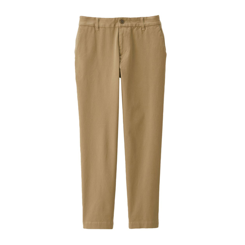 MUJI Women's Horizontal and Vertical Elastic Mercerized Twisted Portable Boyfriend Pants
