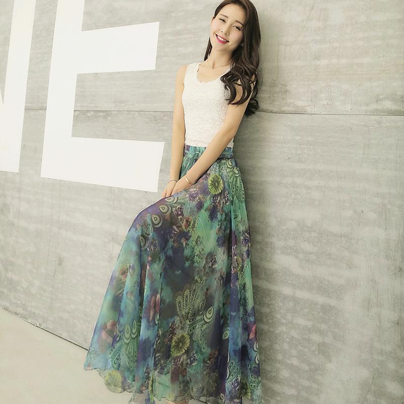 Chiffon floral half length skirt womens Xia Zhong long A-line big swing Peacock Skirt high waist umbrella skirt