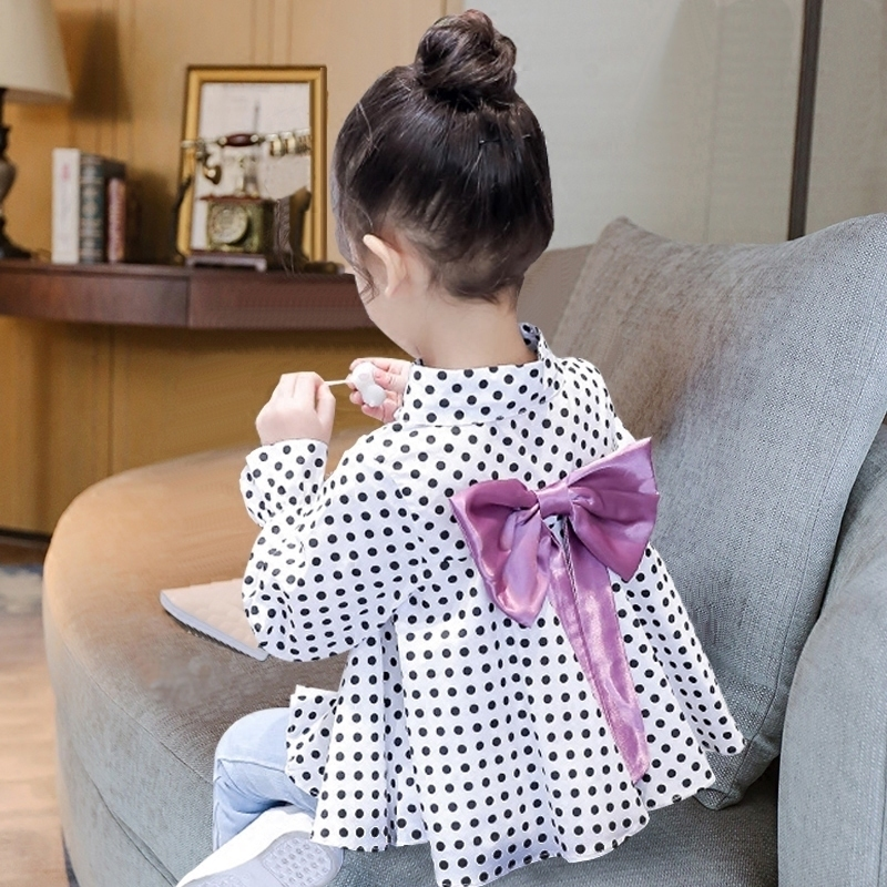 Girls shirt top spring and autumn Korean Edition baby poldian Princess long sleeve cotton white shirt foreign style girls shirt
