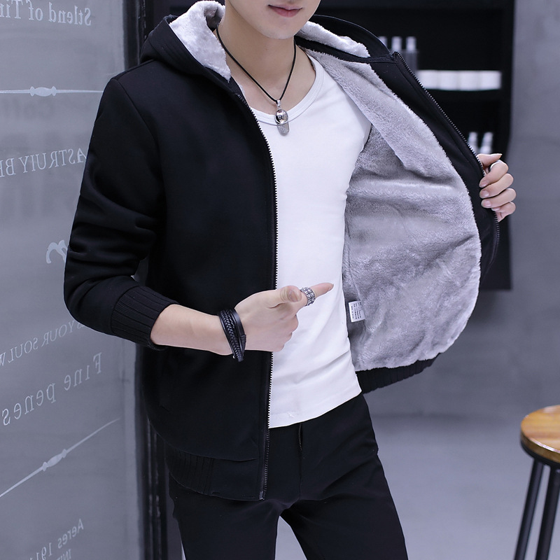 2018 winter new mens warm thickened Plush mens sweater youth Korean casual hooded solid color cardigan