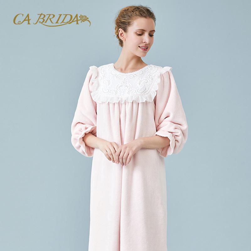 CA BRIDA 秋冬睡裙女秋冬珊瑚绒复古睡裙CHW4S910C1,可领取300元天猫优惠券