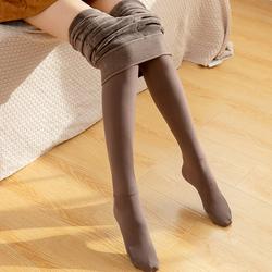 冬季加绒加厚打底裤日系奶咖啡色连脚裤袜显瘦保暖踩脚一体裤灰色