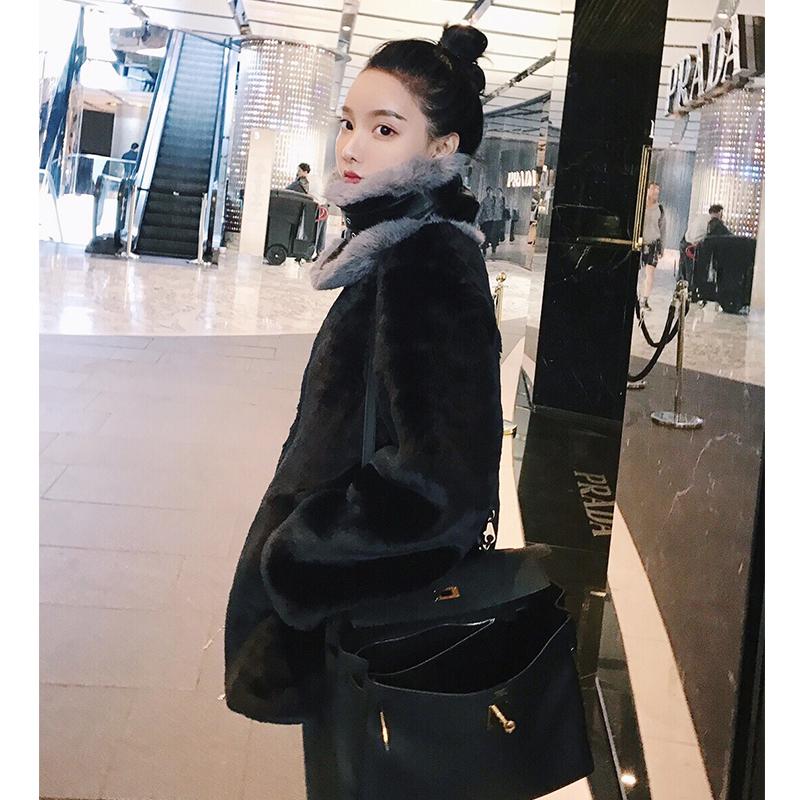 openlady 短毛绒编织皮草女 仿獭兔毛短款韩版外套2017冬季新款
