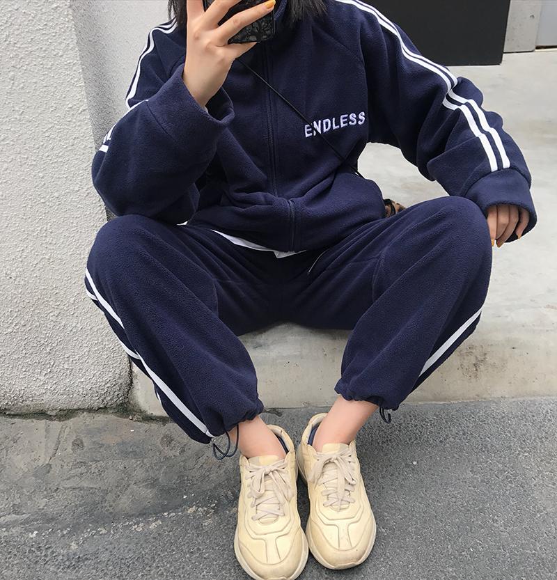 休闲运动套装女2018秋冬新款韩版宽松加厚卫衣外套休闲裤两件套潮
