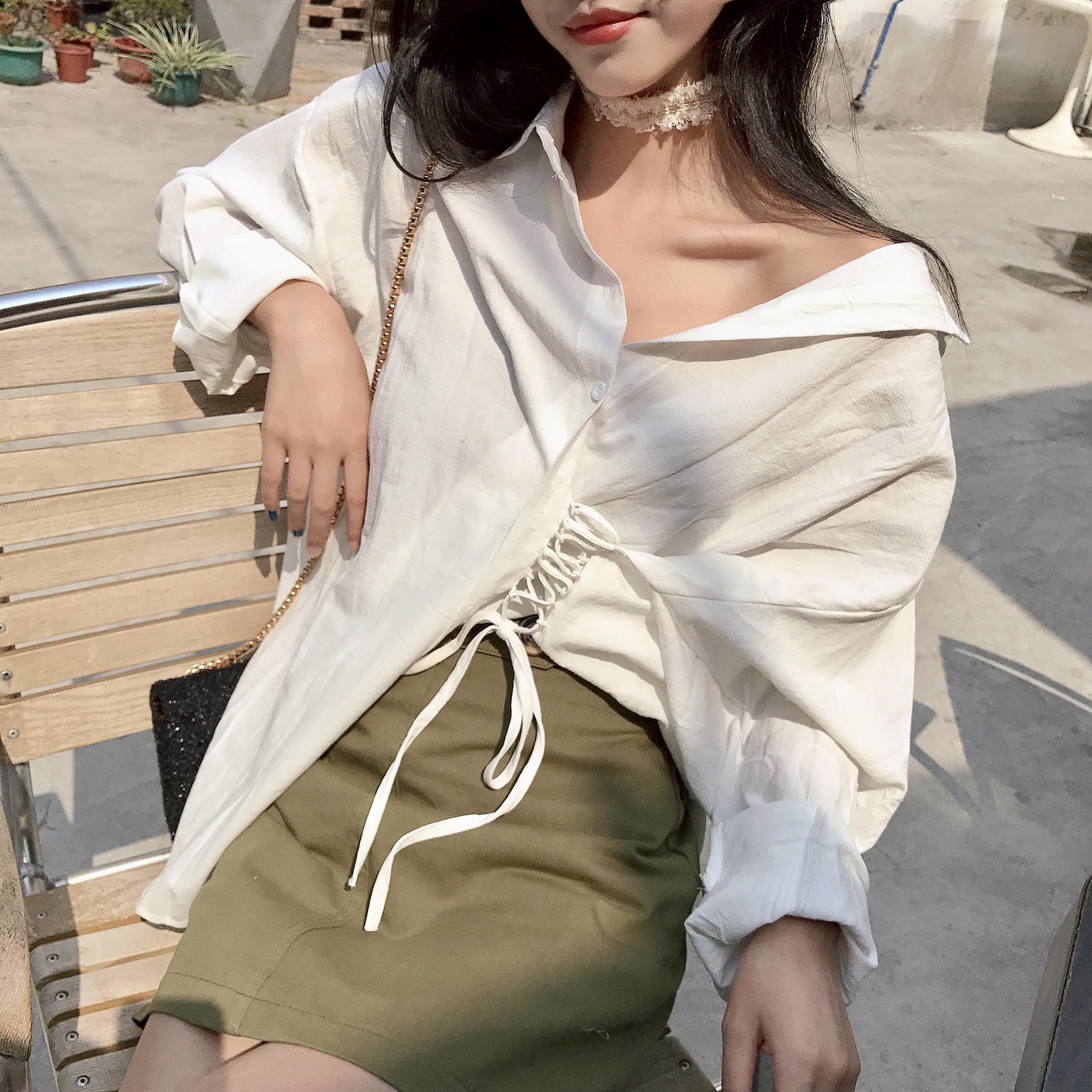 春季韩国chic气质单排扣侧边绑带设计宽松优雅纯色长袖衬衫女外搭