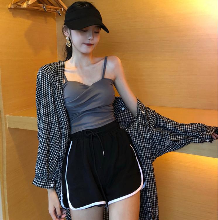 港味时尚套装女装夏季韩版宽松格子衬衫吊带背心阔腿裤休闲两件套