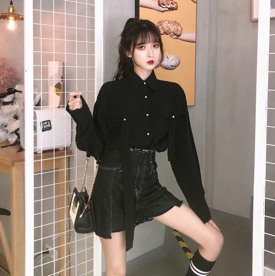 港味秋季韩版宽松长袖衬衫女装上衣+高腰牛仔短裤时尚两件套套装