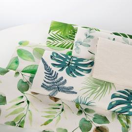 绿植北欧风沙发桌布家居盖布抱枕布料棉麻亚麻布料清新布料贰号