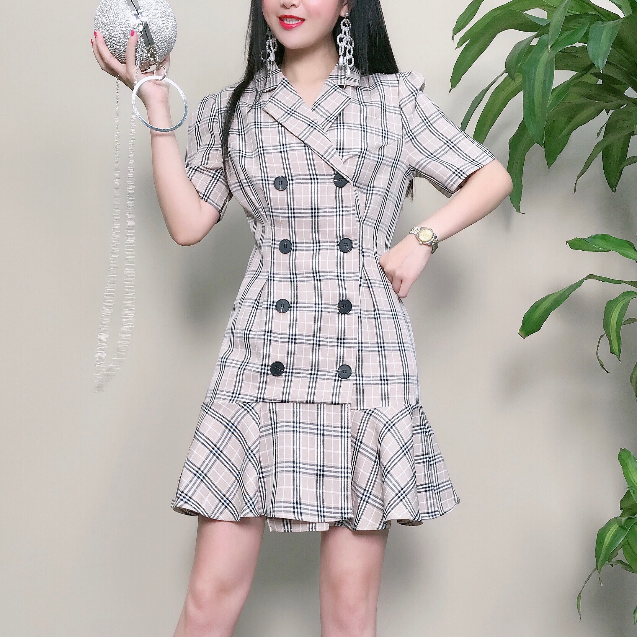 2021 summer new Korean temperament suit collar double breasted slim Ruffle Skirt Dress