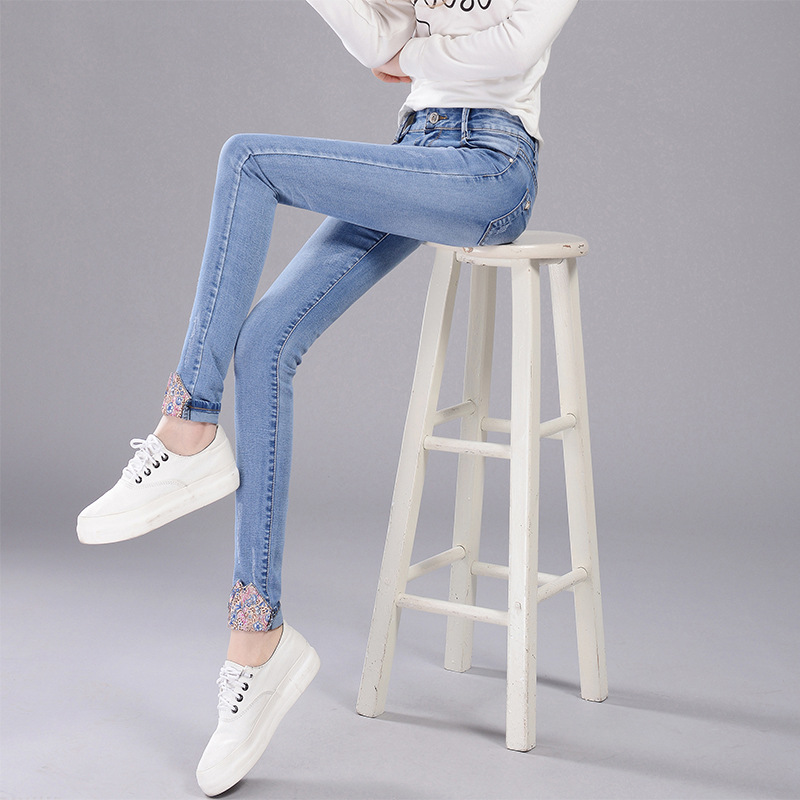 Spring and autumn spring spring 2020 new Korean light color denim pants womens mid waist versatile show thin thin pencil pants women