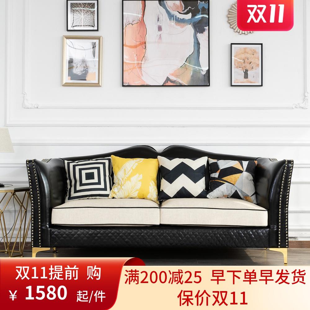軽贅沢後の近代的な本革の客間は簡単で小さい戸型のマンションのネットの赤い3人はアメリカ式の豪華な皮の芸のソファーを組み合わせます。