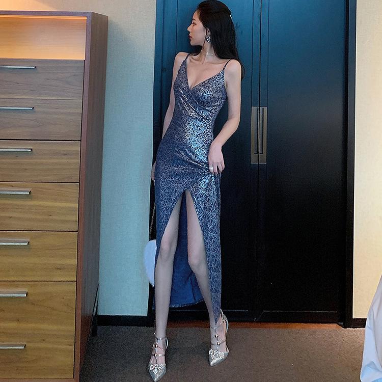 热销0件假一赔十酒吧蹦迪高级感夜店性感v领连衣裙
