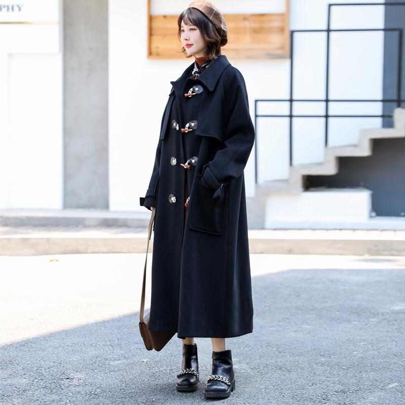 2020冬季新款超长款牛角扣大衣女加厚过膝毛呢外套羊角扣呢子大衣