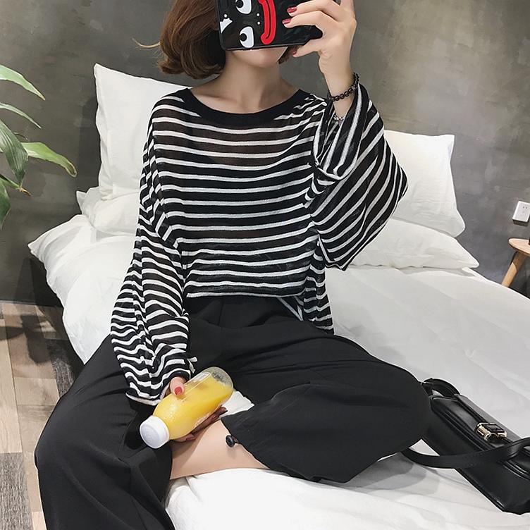 张贝贝ibell泫雅慵懒风上衣宽松条纹薄款冰丝防晒针织空调罩衫女