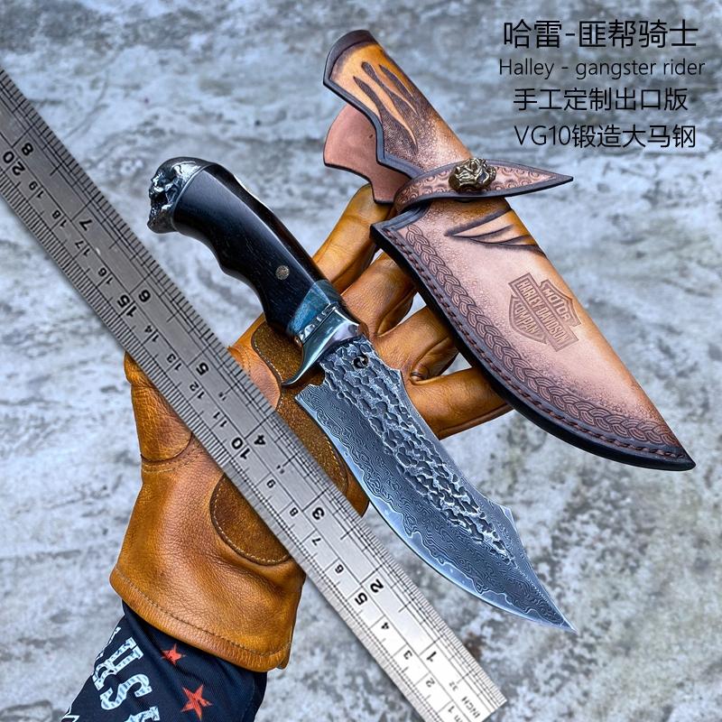 哈雷匪帮骑士刀大马士革钢刀手工直刀户外花纹钢刀野外求生军工刀