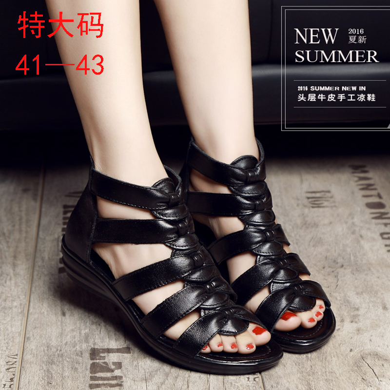 2018 summer new leather slope heel sandals comfortable Roman womens shoes middle aged mother fish mouth soft shoes large size