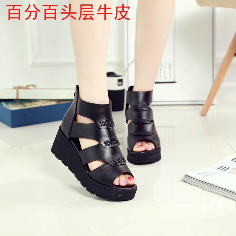 2017 thick bottom muffin sandals womens leather fish mouth shoes waterproof platform tide womens high top muffin bottom ROMAN SANDALS spring and summer