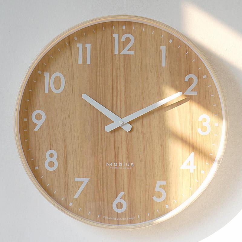 MOBIUS北欧ins风原木质钟表挂钟客厅静音家用简约创意石英钟挂表 Изображение 1