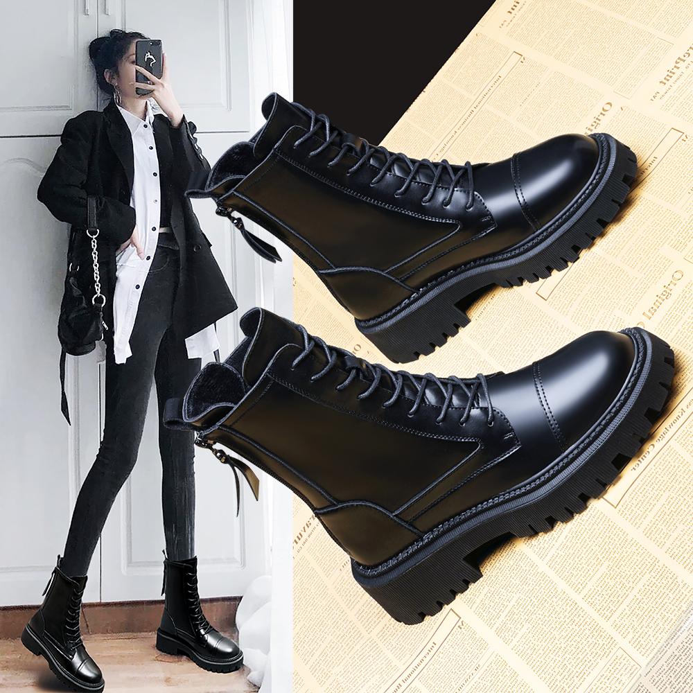 真皮马丁靴女冬2021年新款内增高短靴加绒英伦风春秋单靴子ins潮