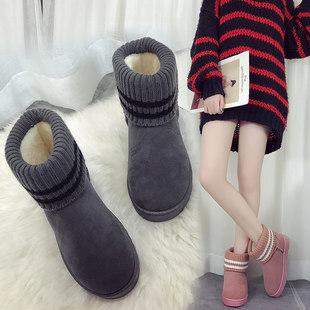 短筒雪地靴女2018冬季新款韩版百搭加绒保暖棉靴网红一脚蹬女靴子