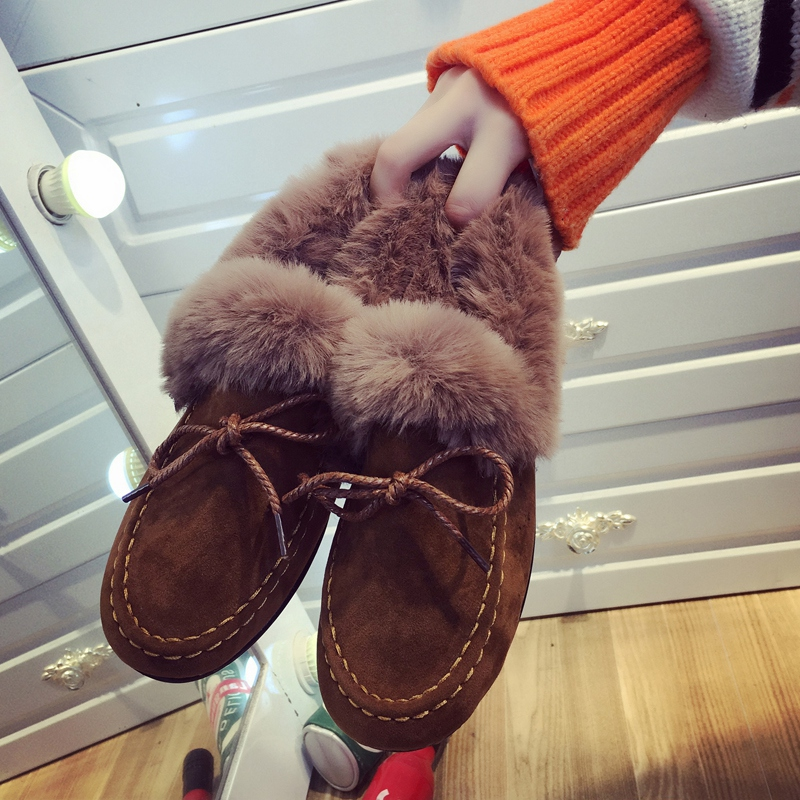 Плюс хлопка теплый снег elmo обувной общество может горох туфли женщина мокасины сын 2017 новый зимний осенний дикий плюс кашемир женщины обувной