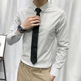 夏季竖条纹衬衫男长袖免烫商务正装韩版修身寸衫男士休闲潮流衬衫
