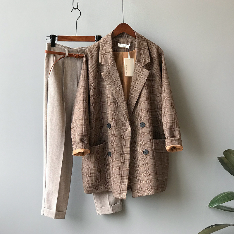 Early autumn Plaid suit coat womens loose British short slim thin chic casual top