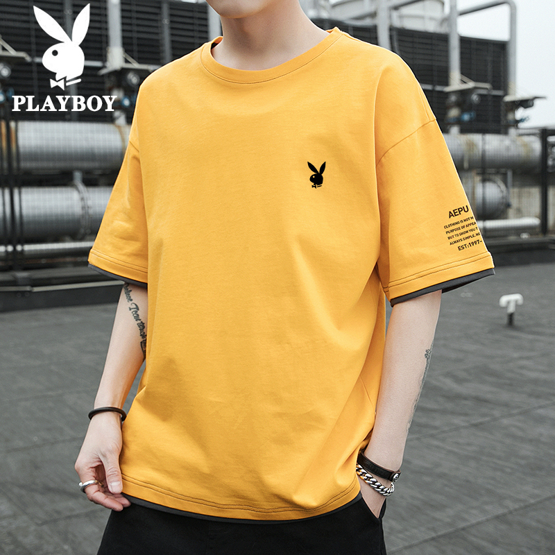 Playboy flagship 2020 summer short sleeve t-shirt men's ins personality loose trend brand trend half sleeve T-shirt
