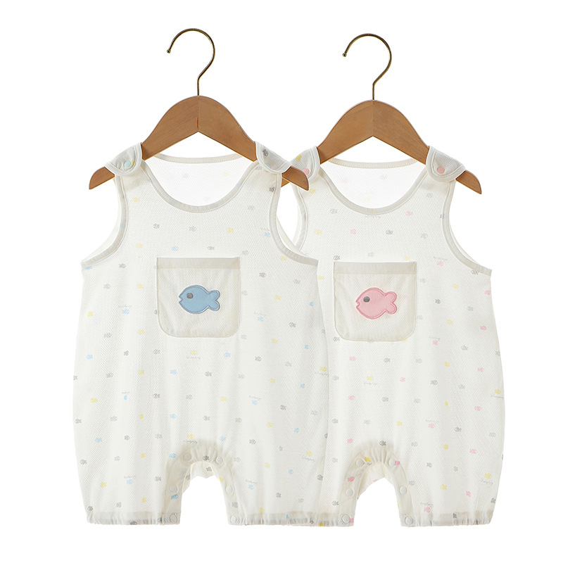 Modal breathable mesh baby sleeveless Jumpsuit vest baby creeper Jumpsuit baby summer
