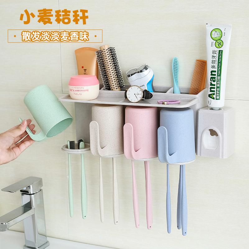 """Настенный творческий поглощать стена стиль держатель щетки мыть установите присоска """"кубок зубная паста зуб с коробкой стеллажи чистите зубы чашка"""