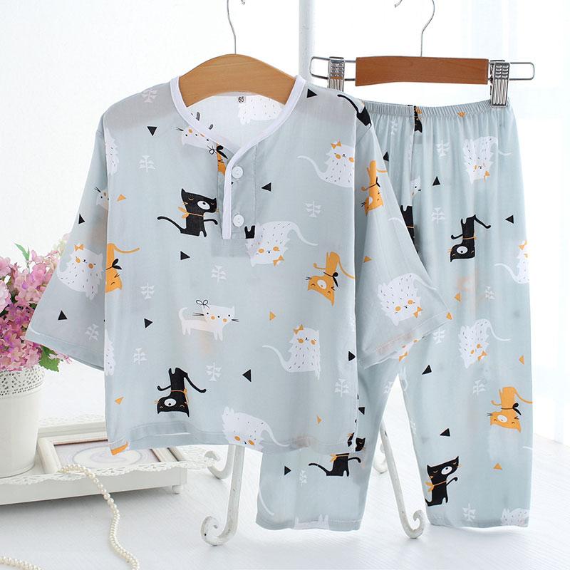 夏季棉绸儿童小孩睡衣套装男孩女童绵绸长袖长裤薄空调家居服宝宝