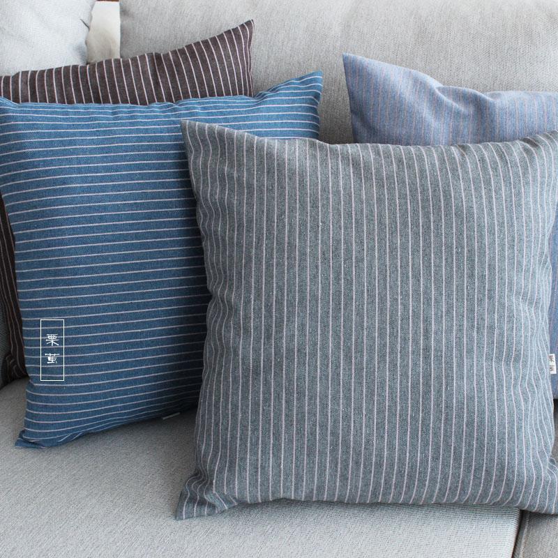栗茧日式灰色系条纹棉麻条纹抱枕沙发靠枕套餐椅办公室抱枕套多色
