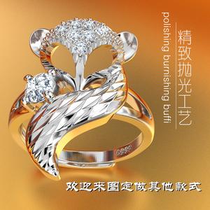 S990纯银镀铂金饰狐狸戒指女开口可调节食指无名指时尚戒子创意