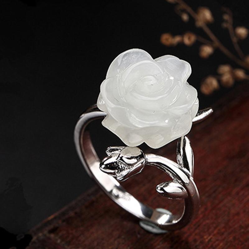 大师原创珠宝S925纯银复古镶嵌和田玉白玉玫瑰花开口戒指可调节