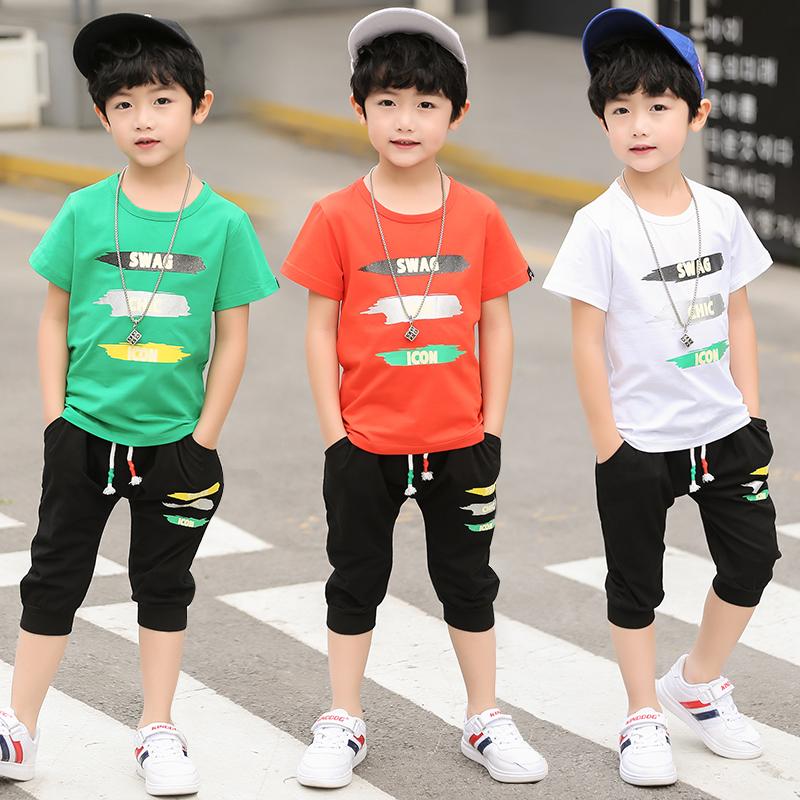 KIZO童装男童夏装套装2018新款儿童短袖套装夏季T恤休闲两件套潮