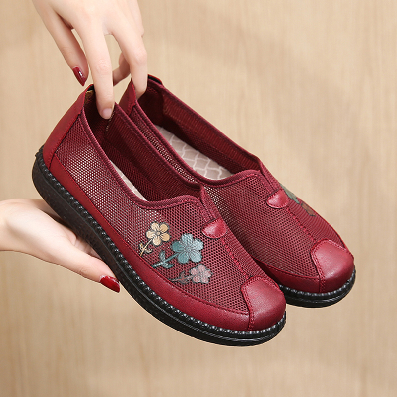 夏季新款软底妈妈鞋老北京布鞋平底女网鞋中老年奶奶春秋老人单鞋