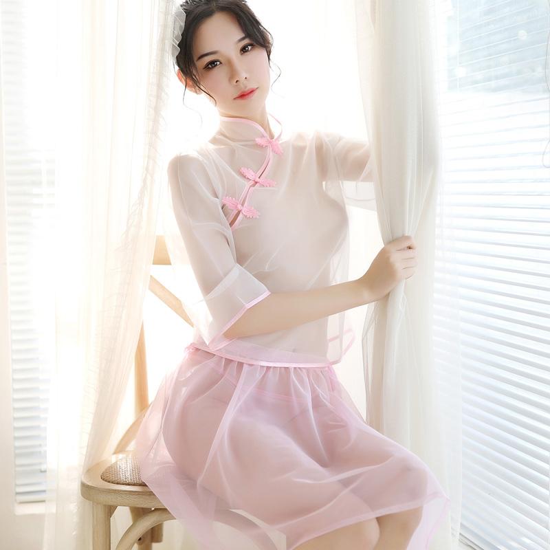 女夏透明薄纱复古民国风透视旗袍热销53件有赠品