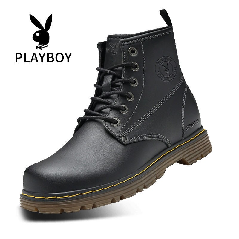Playboy Boots Men's spring new high top Martin boots men's British style work clothes boots army boots men's spring leather