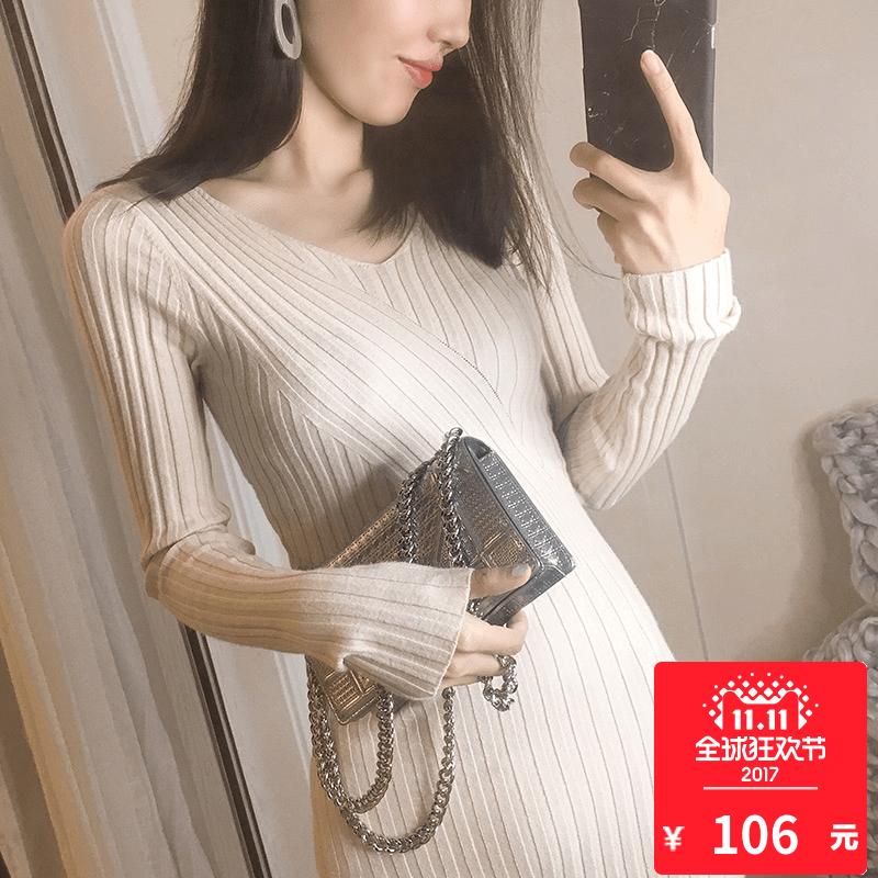 2017 осень зима новый тонкий темперамент тонкий поддержка свитер платье свитер платье женский осенний зима волна