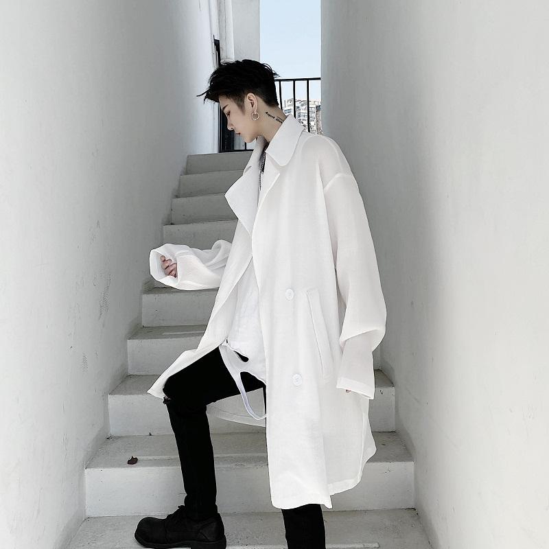 夏装暗黑系个姓小众褶皱设计男士中长款宽松防晒风衣薄款棉麻外套