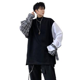 秋裝新款國潮ins個性格子撞色拼接設計男士寬鬆衞衣潮男嘻哈外套