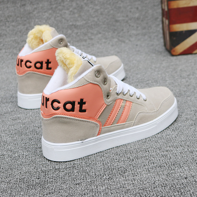Shoes womens new fall / winter 2018 Korean high top shoes womens Plush sports cotton shoes Harajuku versatile casual board shoes