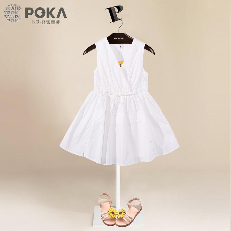 女童连衣裙白裙子夏季2017新款韩版公主裙中大童纯色棉无袖背心裙