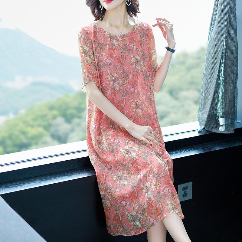 杭州真丝双绉连衣裙女夏季新款大牌重磅桑蚕丝宽松大码妈妈装洋气