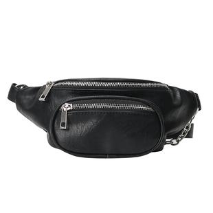 《擺渡》ins超火胸包新款超模同款包時髦帥氣鏈條黑色腰包斜挎包