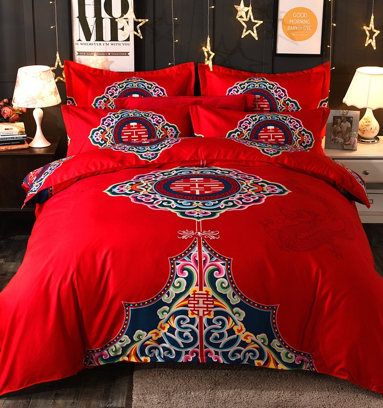 All cotton four piece new house naked bed sheet simple set wedding red Quilt Set Wedding cotton bedding